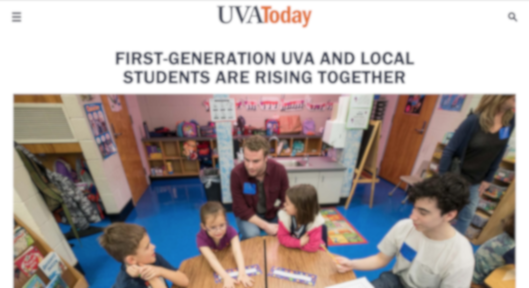First Generation UVA and Local Students are Rising Together